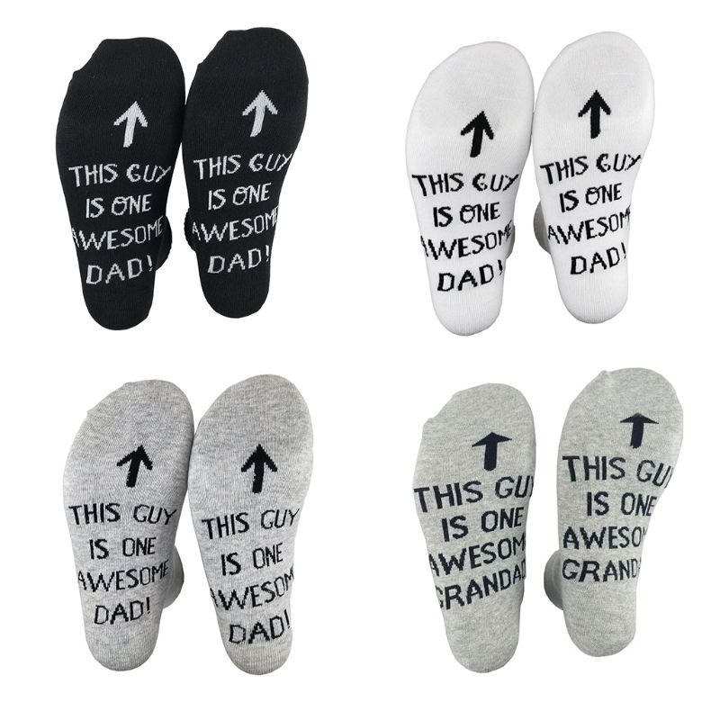 Men Funny Long Crew Socks Unisex This Guy Is One Awesome Dad Letters Printing Combed Cotton Ribbed Knitted Hosiery Fathers Gifts