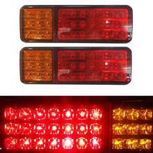 1Pair Car Rear Tail Lights Red Yellow Stop Turn Signal Taillight for 12V 24V Truck Trailer Lorry Van