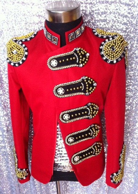 2016 New Fashion Men's Red Rhinestone Jacket  Dancer Stage Costumes Party Show Performance Outwear