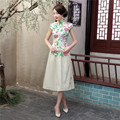 Free Shipping New Sale fashion cheongsam top traditional Chinese Top Faux Silk Flower Print blouse top + Linen Skirt