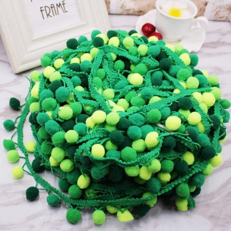 3 Yards 30mm Pom Pom Trim Fringe Ball Ribbon for Clothing Decoration Green
