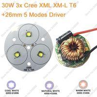 Torcia Elettrica FAI DA TE 3 * Cree XML XM-L T6 LED Ad Alta Potenza Emettitore Fresco bianco Neutral White Warm White 50mm PCB + 12 V 26mm 5 Modalità Driver