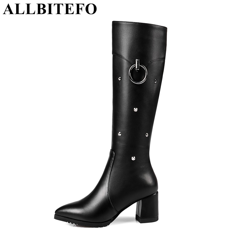 ALLBITEFO large size:33-43 genuine leather+pu thick heel women boots new winter boots brand metal charm girls boots ladies shoes allbitefo golden zip decorate fashion spring winter snow shoes genuine leather pu women boots casual knee high boots size 33 43