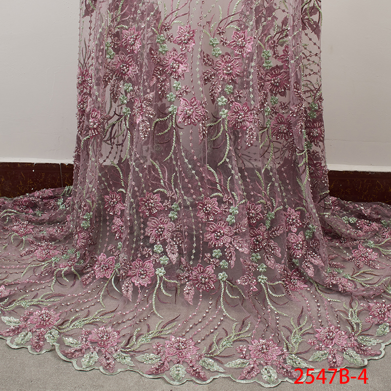 High Quality Nigerian Lace Fabric 2019 Handmade Beads African French Lace Fabrics 3D Flower Embroidered Tulle