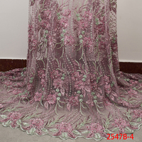 High Quality Nigerian Lace Fabric 2019 Handmade Beads African French Lace Fabrics 3D Flower Embroidered Tulle Mesh Lace XZ2547B