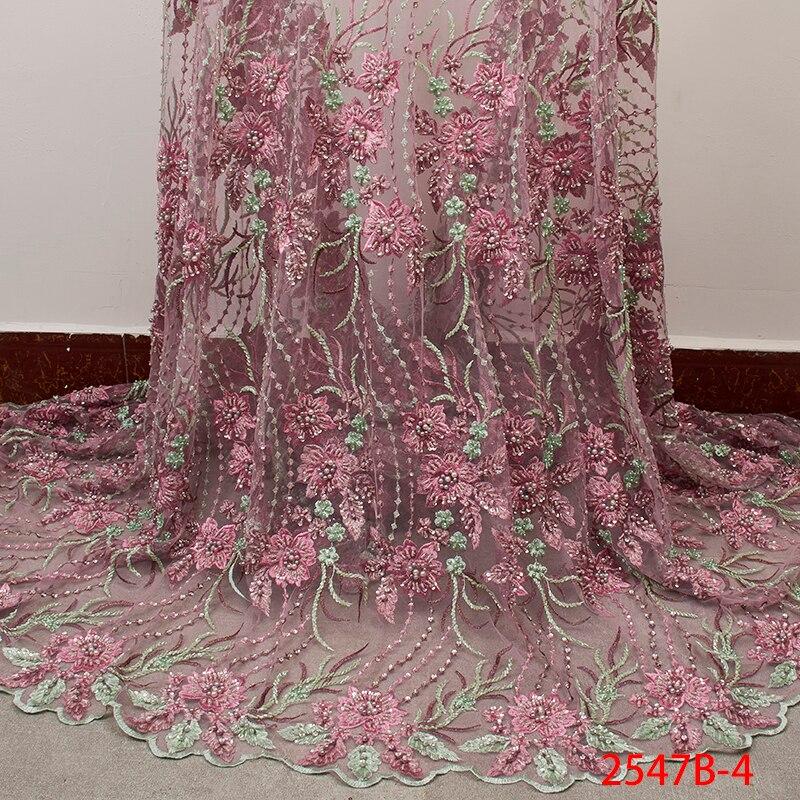 Wysoka jakość nigeryjczyk koronki tkaniny 2019 Handmade koraliki afryki francuski koronki tkaniny 3D kwiat haftowanego tiulu siatki koronki XZ2547B w Koronka od Dom i ogród na  Grupa 1
