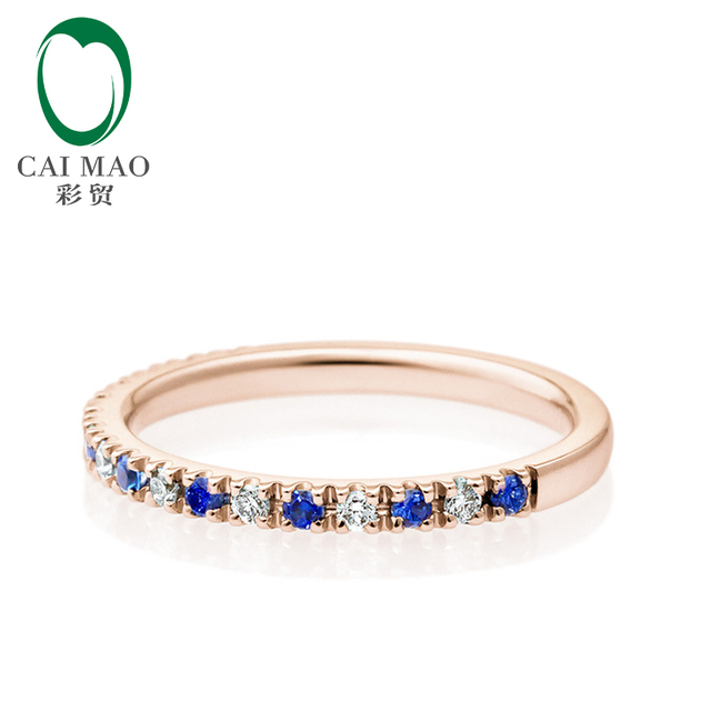 Mitad Eternidad Clásico 0.16ct Pave H SI Diamante Natural y Zafiro 0.17ct Engagement Wedding Band Caimao Joyería