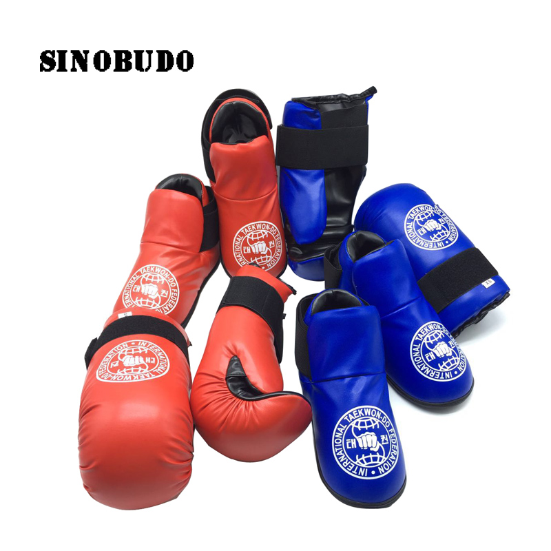 1Set New ITF Taekwondo Foot Ankle Guard Protector Hand Protector Kickboxing Boot Gloves ITF Martial Arts Sparring Gear Karate1Set New ITF Taekwondo Foot Ankle Guard Protector Hand Protector Kickboxing Boot Gloves ITF Martial Arts Sparring Gear Karate