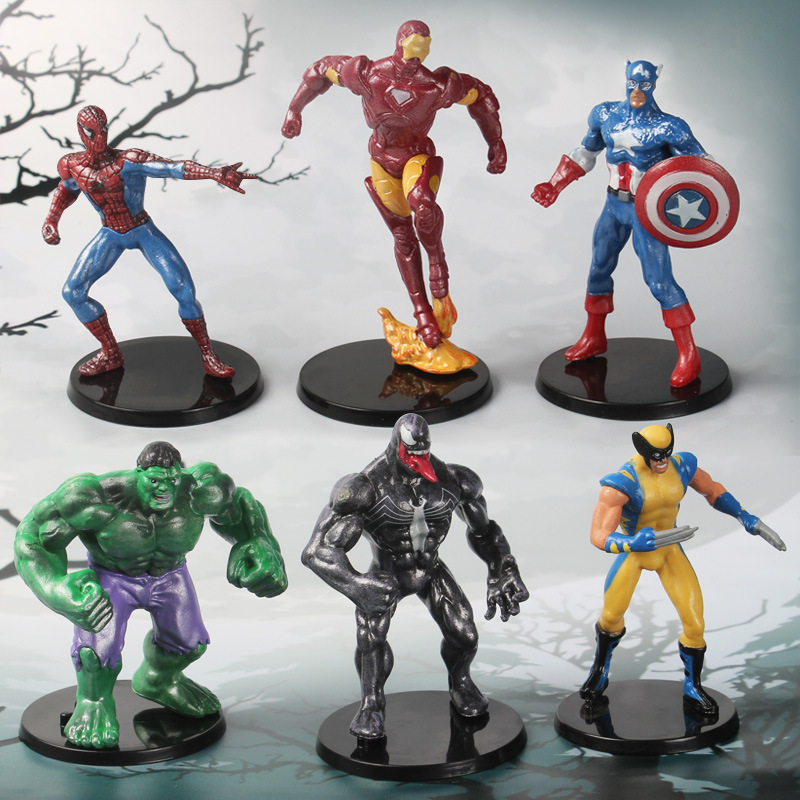 6pcs/lot New Marvel Avengers Action Figure Set Anime PVC Captain America Ironman Wolverine Spider-Man Hulk Model Toys Gift new hot 16 22cm avengers thor iron man hulk captain america movable action figure toys collection doll christmas gift with box