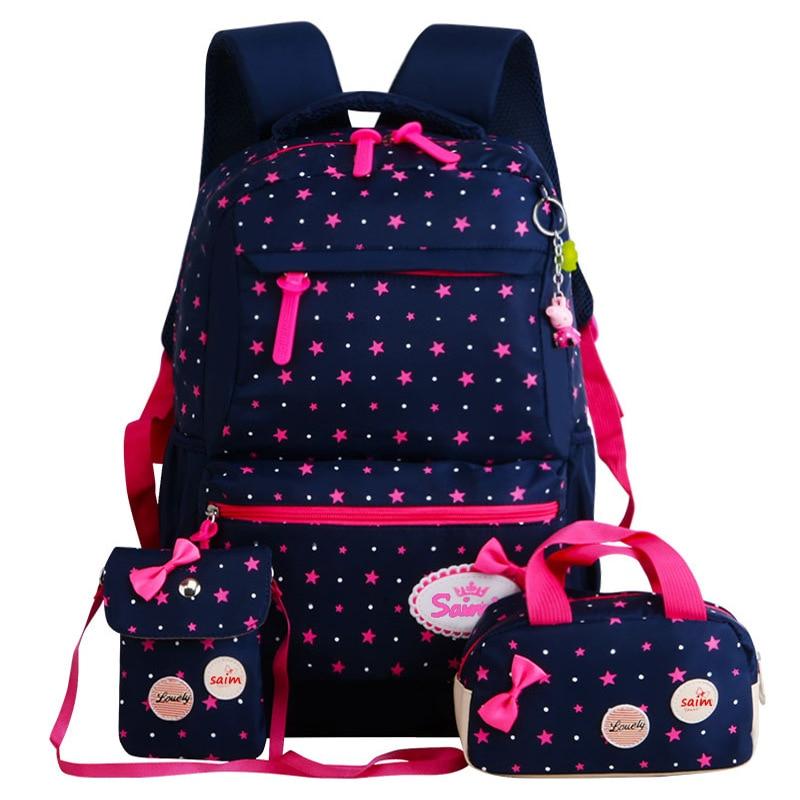 E KUIZAI Sterne Druck Kinder Schule Taschen Für Mädchen Jugendliche Rucksäcke Kinder Orthopädie Schulranzen Rucksack mochila infantil