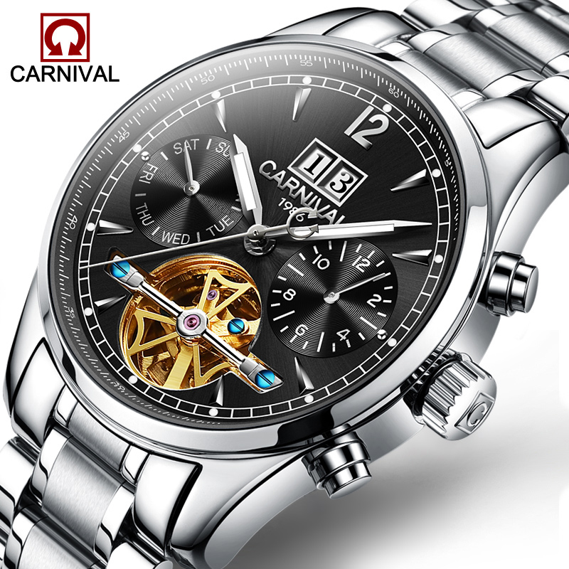 Carnival Men's Tourbillon Mechanical Watch Luxury Business Self-Winding Wristwatch Fashion Stainless Steel Fashion Date Watches цена