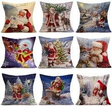 Подушка Чехол s Счастливого Рождества белье Санта Подушка Чехол для диванных подушек, наволочки для подушек, украшения дома Kussenhoes Housse de Coussin Cojines