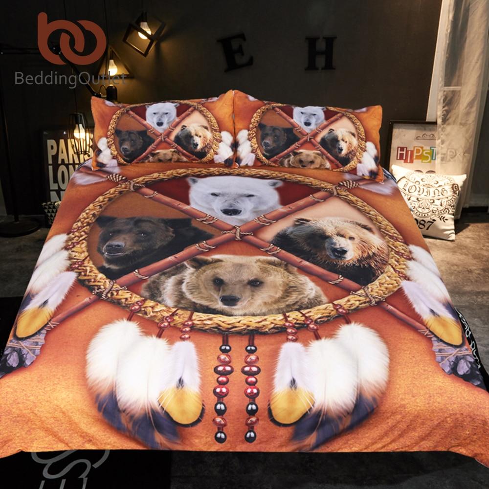 BeddingOutlet Indische Bears Bettwäsche Set Königin Dreamcatcher Bettbezug 3D Wilden Tier Tribal Tagesdecken Native American Bett Set