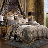 4/6 piezas de lujo de seda de satén de algodón Jacquard juego de cama edredón funda de cama de lino sábanas fundas de almohada ropa de cama King Queen Size
