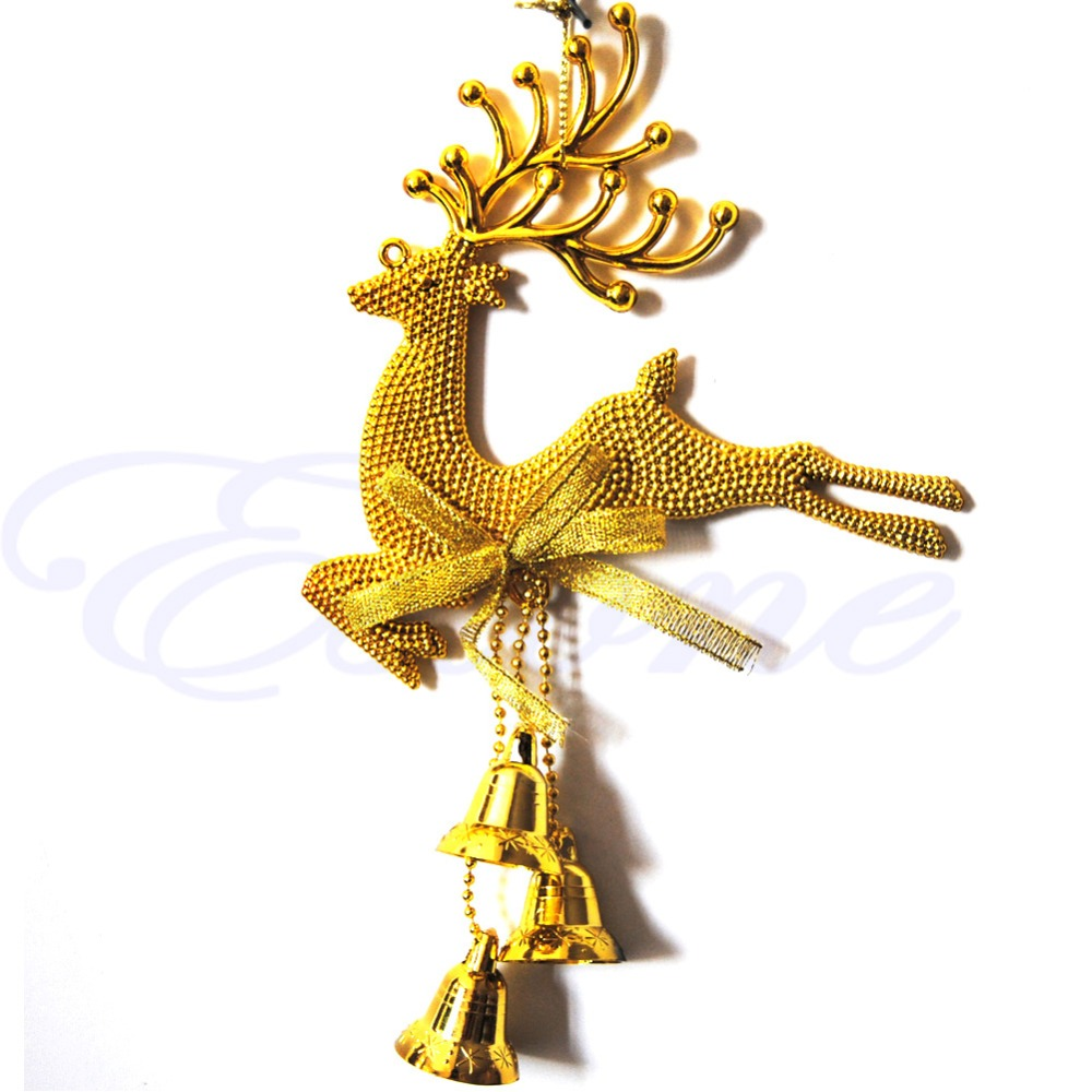 Bells Xmas Deer Reindeer Hanging Decorations Christmas Tree Baubles Home Decor