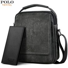 (Ship from US) VICUNA POLO Leather Solid Men Business Crossbody Bags Set  With Wallet High Quality Casual Short Travel Messenger Bag For Male 91f8361cb5d0f