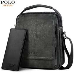 VICUNA POLO Leather Solid Men Business Crossbody Bags Set With Wallet High Quality Casual Short Travel Messenger Bag For Male