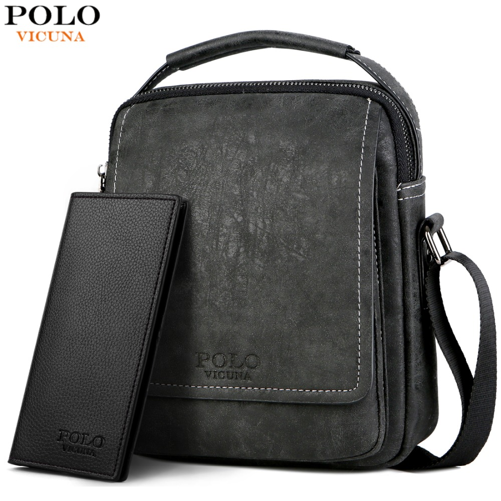 VICUNA   POLO   Leather Solid Men Business Crossbody Bag With Wallet High Quality Bag Set Casual Short Travel Messenger Bag For Male