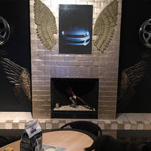 Size L Creative  Abstract  Retro Wing Wall Sculpture Decoration Figurine Decorative Metal Wing Statue TV Background Xmas Gift