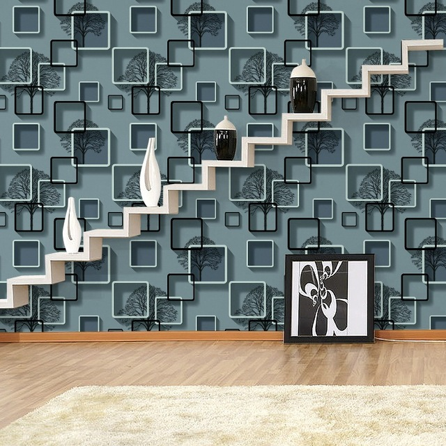 New grid wallpapers home TV morden background sitting room Luxurious