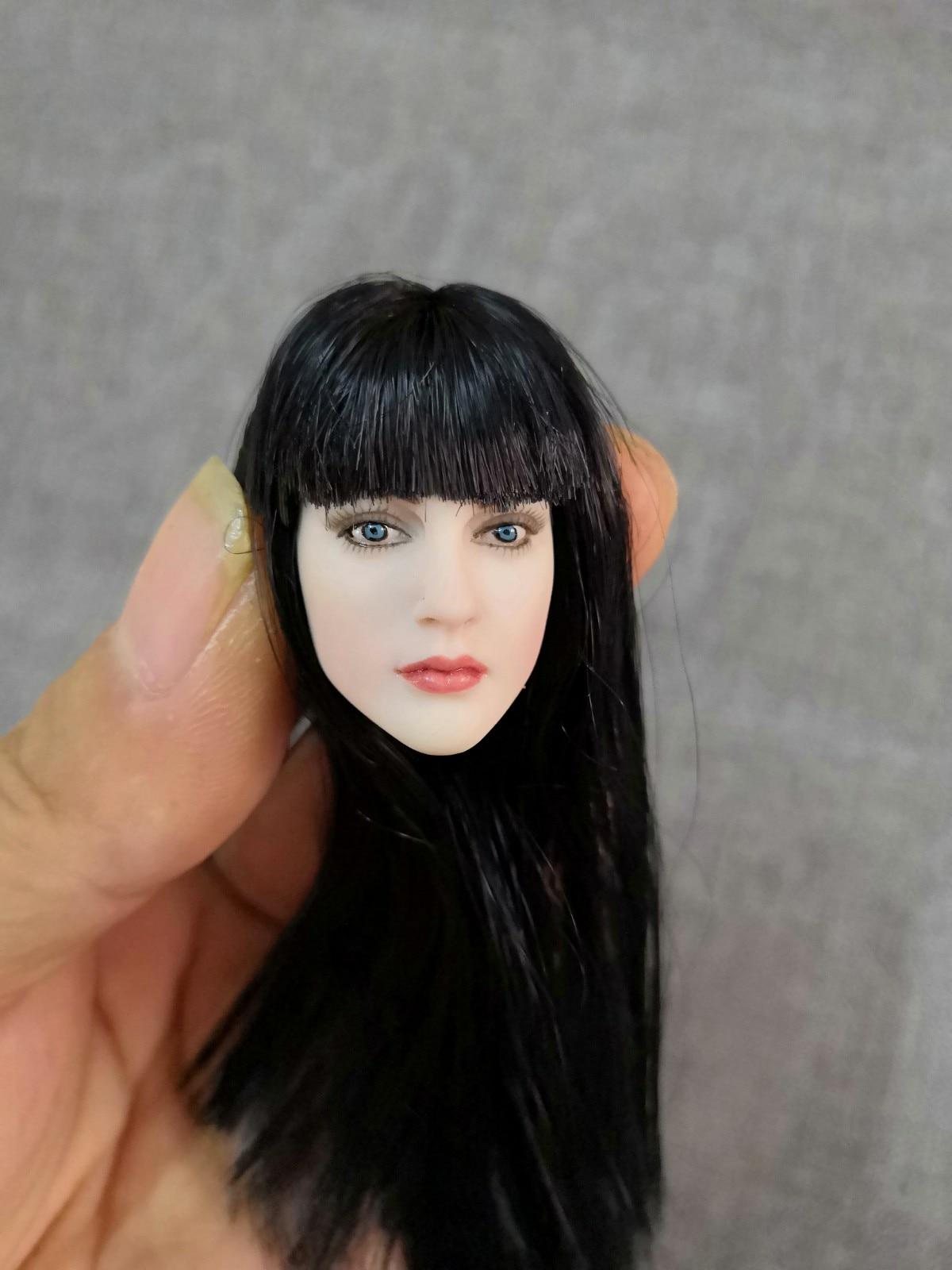 1/6 Female Head Sculpt Girl Head Asian Pale Skin Black Long Straight Hair 12 inches girl Women HT PH Body Figure aisi hair 1b 6 inches