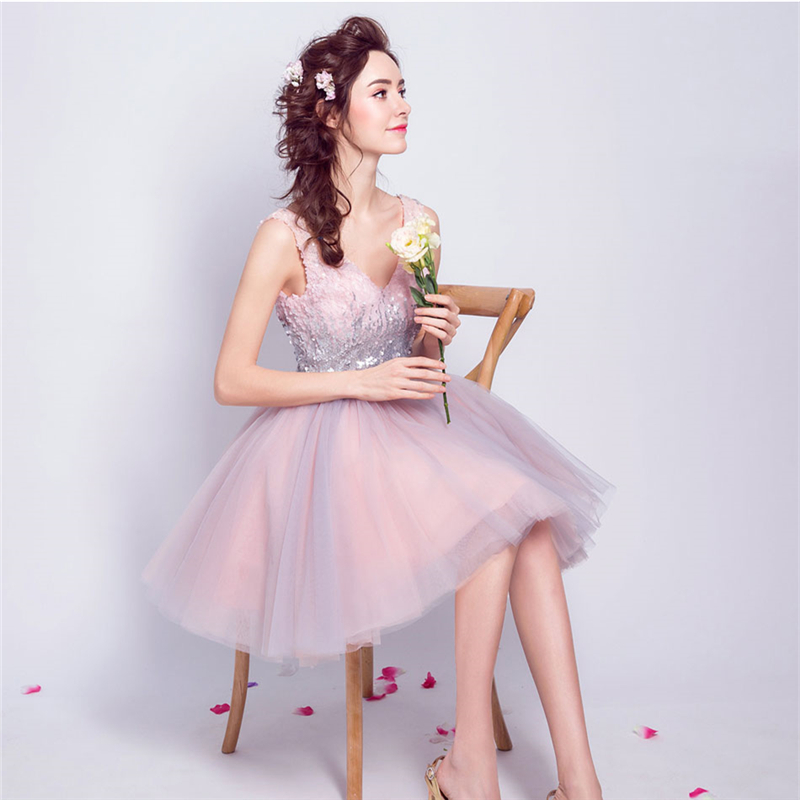 Weddings & Events Its Yiiya Pink Bling Cocktail Dresses Sequins Tulle Sex Mini Party Short Dress V-neck Above Knee Lace Up 2018 New Lx825