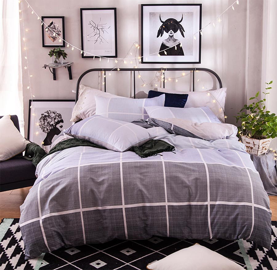 Boy plaid bedding - Geometric Plaid Bedding Set Adult Teen Kid Man Boy Cotton Full Queen Checked Double Home