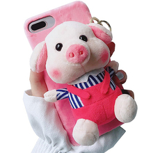 Cartoon Doll Toy Piggy Phone Case, 3d Cute Stripes Plush Strap Pig Soft Cover with Bracket Stand for XR XS MAX Case