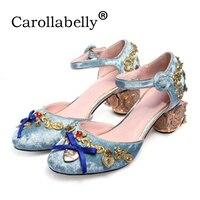 2018 Новый Винтаж Мэри Для женщин насосы металлический декор странные греческие сандалии на каблуке Stiletto Свадебные модельные туфли День свят