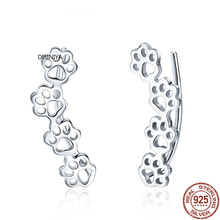 DISINIYA Hot Sale 925 Sterling Silver Paw Trail Cat And Dog Footprints Stud Earrings for Women Jewelry SCE430