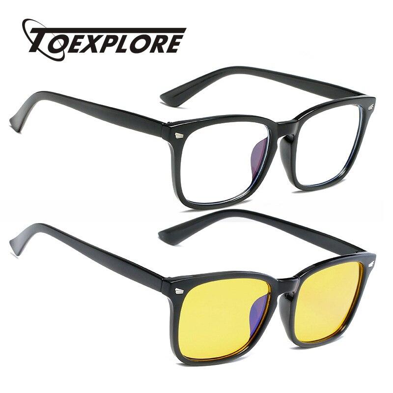 TOEXPLORE Women Men Anti Blue Light Ray Optical Glasses Goggles Gaming Eyewear Frame For Computer Vintage Luxury Myopia Reading