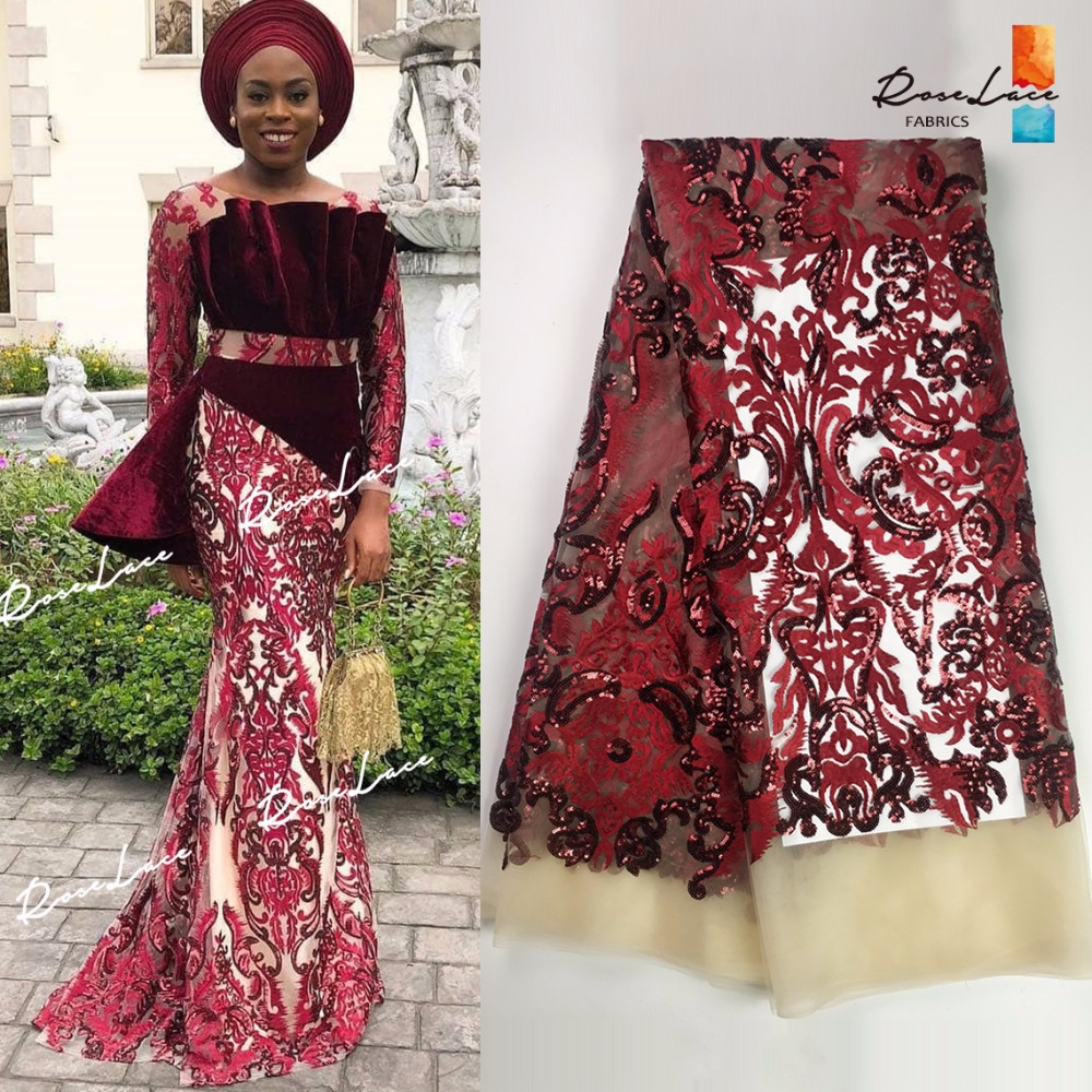 Wine Red Sequined Net Lace African Sequins Lace Fabric For Indian Women Party Evening Dress Material