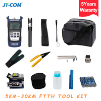 12pcs Fiber Optic FTTH Tool Kit with FC 6S Fiber Cleaver and Optical Power Meter 30km Visual Fault Locator Cable Wire Stripper