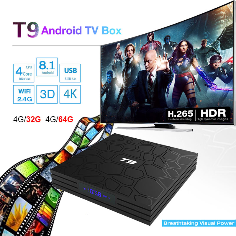 T9 Android 8.1 Oreo TV BOX 4GB+64GB//32GB WiFi+Bluetooth Quad Core H.265 4K HD 3D