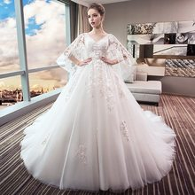 Wedding Dress For Pregnant Woman 2018 Bridal Gown Romantic Robe Mariee Princesse Puffy Plus Size Wedding Dress With Cape TS335(China)