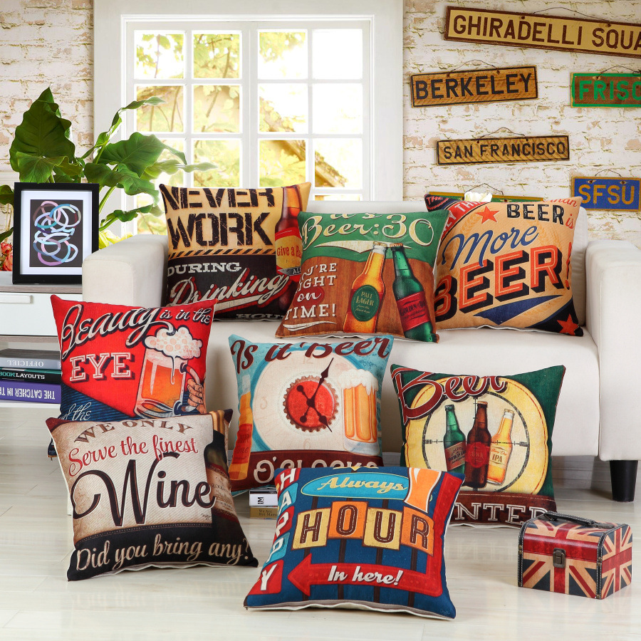 Office chairs in sri lanka - 2017 Beer Decorative Pillows Covers Cotton Linen American Style Wine Throw Pillows Office Chair Sofa Seat