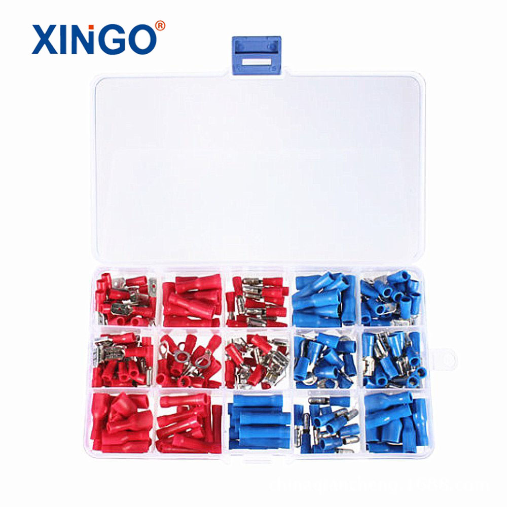200Pcs Assorted Insulated Spade Crimp Terminal Electrical Wire Connector Set Red Blue Yellow 1200 pcs mixed assorted lug kit insulated electrical wire connector crimp terminal spade ring set box 893g