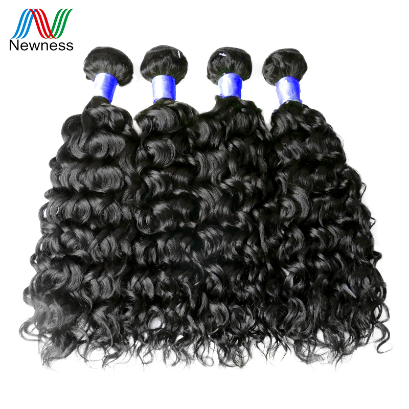 Newness Hair 4 Bundles Water Wave Indian Hair Extensions 100% Human Hair Weaving Natural ...