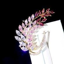 ASNORA Broche de circonitas rosadas de alta calidad para mujer, chaqueta de abrigo o un ramo da sposa abiti da sposa