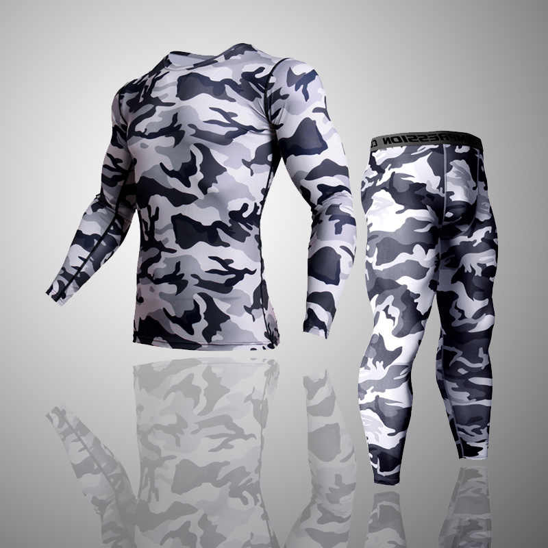 2 stuk Trainingspak Mannen Compressie MMA Lange mouw t-shirt Rashgard kit Camouflage Sweatshirt + leggings Fitness Thermisch ondergoed