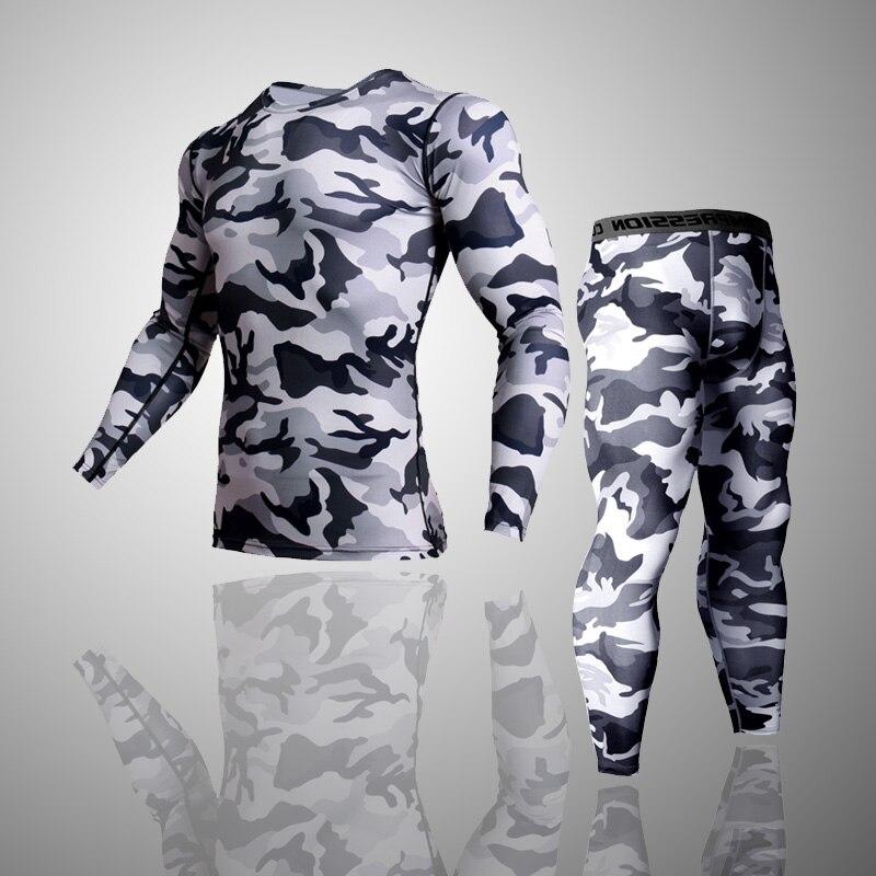 2 stück Trainingsanzug Männer Kompression MMA langarm t shirt Rashgard kit Camouflage Sweatshirt + leggings Fitness Thermische unterwäsche