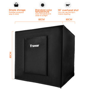 Image 2 - Travor Light Box 80*80CM Portable Softbox Photo LED Lightbox Tent With 3 Colors Background For Studio Photography Lighting Box