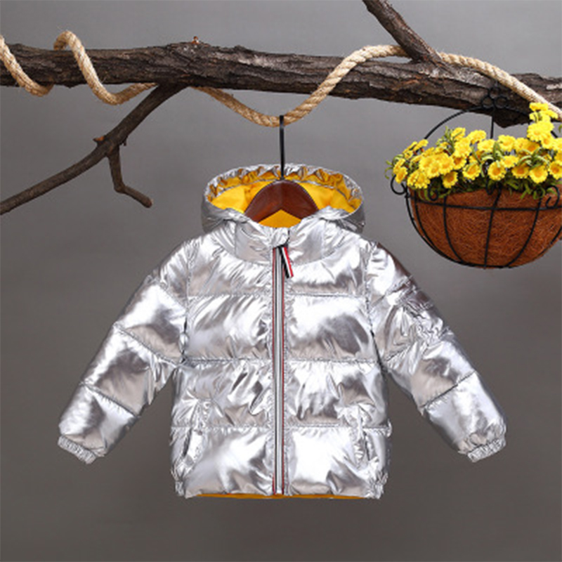 NEW Children winter jacket for kids girl silver gold Boys Casual Hooded Coat Baby Clothing Outwear kids Parka long sleeve coat immdos winter new arrival down jacket for boy children hooded outwear kids thick coat baby long sleeve pocket fashion clothing page 3