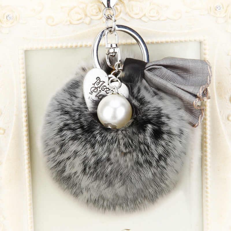8 cm Fluffy Rabbit Fur Pom Pom Pompom Keychain Llavero Chaveiro Pano Pérola Flor Acessório Chaveiro Bolsa Charme Chaveiro pingente