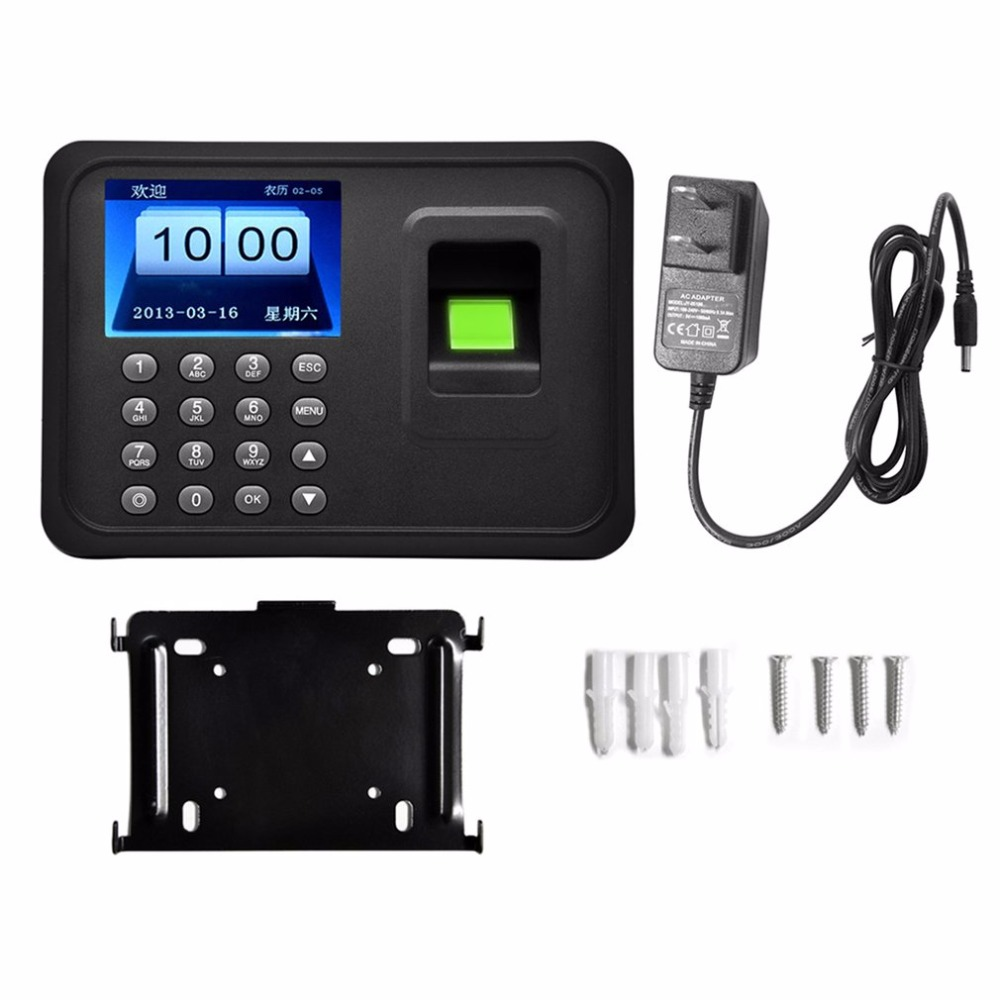 A6 2.4-Inch TFT Color Screen Fingerprint Recorder Free-software Roll Machine Employee Attendance Machine Time Clock Recorder