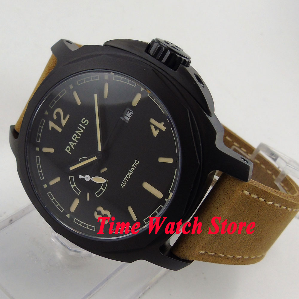 Parnis 44mm black dial PVD case sapphire glass MIYOTA Automatic mens watch 695 цена и фото