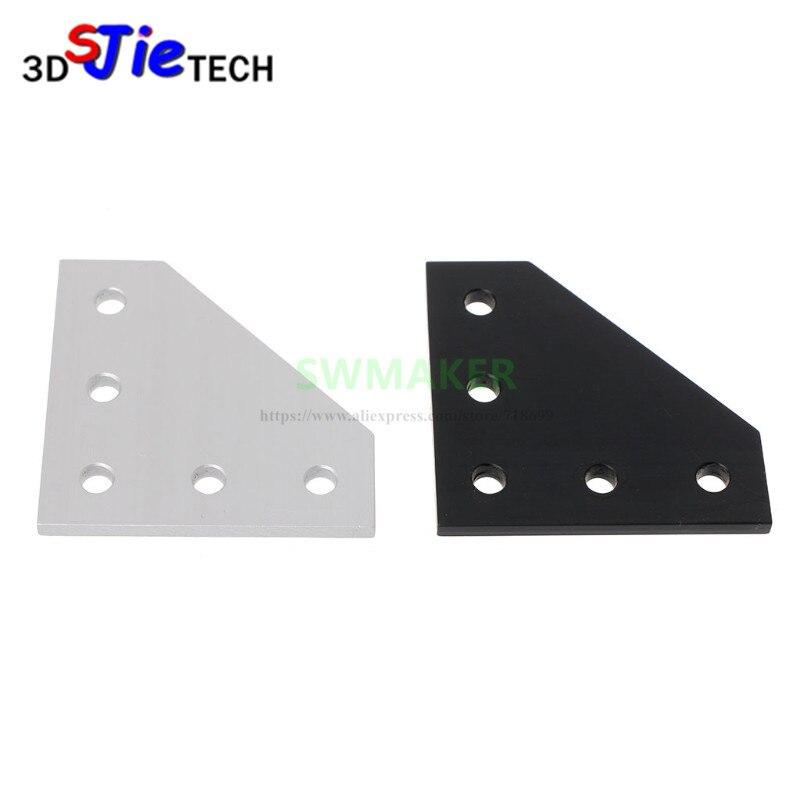 Silver / Black 90 Degree Joining Plate W/ 5 Holes For Openbuilds CNC 3D Printer V-Slot 2020 3030 Aluminum Profiles