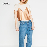 ORMELL Women S Fashion V Neck Metallic Gold Silver Leather Tank Crop Top