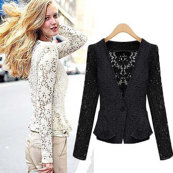 Women Vintage Lace Hollow Out Cardigans Lace Celebrity Formal Evening Outwear Work Wear Lady Long Sleeve V-neck jackets