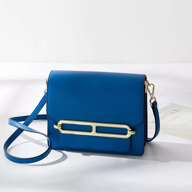 Women Chic And Simple Small Navy Blue Flap Bag Shoulder Crossbody